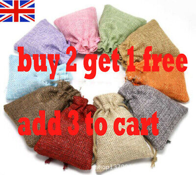 20x Burlap Linen Jute Jewelry Bags Drawstring Wedding Gift Xmas Favor Pouches WC