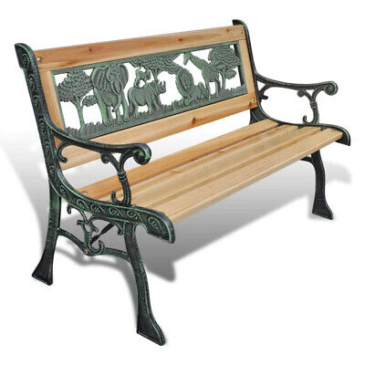 Children Garden Wooden Bench Cast Iron Legs Outdoor Furniture Patio Seat 80 cm
