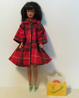 Red Coat Fall Outfit Plaid Fashion Dolls Clothes Barbie Shoes Dollhouse New 11.5