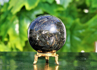 Large 5CM Natural Black Larvikite Crystal Healing Energy Reiki Aura Stone Sphere