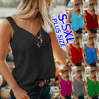 Women Lace Vest Sleeveless Loose Camisole V-Neck Tank Tops Blouse T-Shirt CR