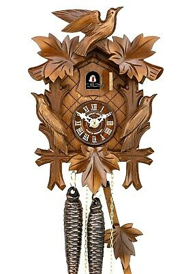 Hubert Herr,  Black Forest  1 day cuckoo clock, with 3 lovely hand carved birds.