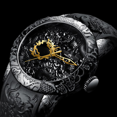 MEGALITH Fashion Gold Dragon Sculpture Watch Men Quartz Watch Waterproof 2019