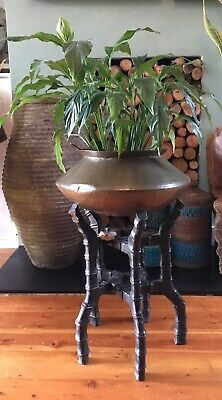 Old Antique Edwardian Victorian Oriental Carved Wood Faux Bamboo Plant Stand