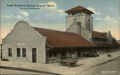 Everett WA Great Northern GN RR Train Station Depot c1910 Unused Postcard