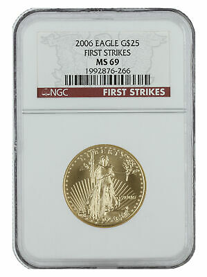 2006 - $25 1/2oz Gold American Eagle MS69 NGC First Strike Red