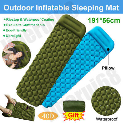 Ultralight Inflatable Sleeping Mat With Pillow Camping Air Pad Roll Bed Mattress