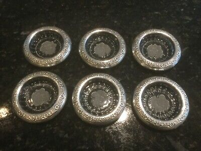 """Antique International Sterling Silver Rim""""Prelude"""" and Crystal Etched Coasters"""