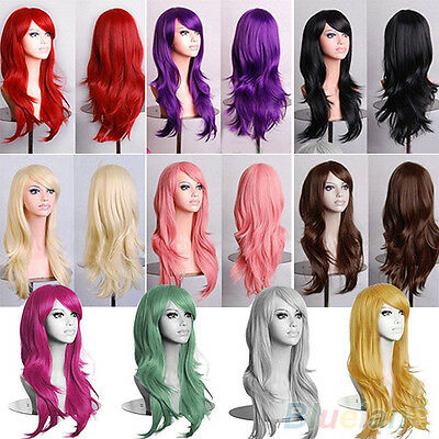 FT- Womens Lady Long Hair Wig Curly Wavy Synthetic Anime Cosplay Party Full Wigs