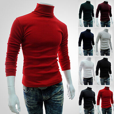 Men Thermal High Collar Turtle Neck Slim Fit Long Sleeve Sweater Stretch Top Tee