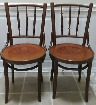Antique Pair FISCHEL BENTWOOD Cafe PARLOR CHAIRS Pressed SEAT CATTAILs Pond Iris