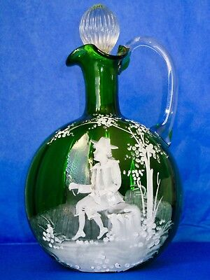 Antique Victorian MARY GREGORY Wine Decanter Hand Blown Green Glass ca 1880-90s