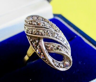 Sterling Silver Marcasite Ring Authentic Antique Art Deco 1920-30s Hallmarked