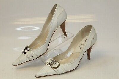 e8b961bcb Christian Dior Womens 8 38 Ivory Leather Buckle Pumps Shoes Made in Italy