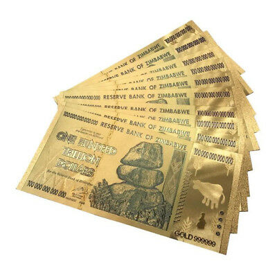 Zimbabwe 100 Trillion Dollars Banknote Color Gold Foil Bill Money Collection