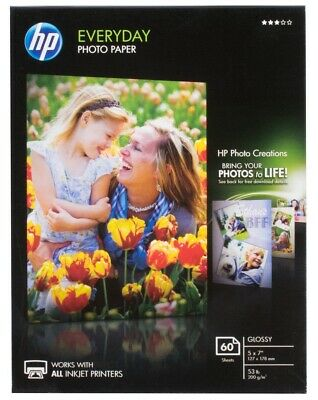 HP Glossy 5x7 Everyday Photo Paper - 60 sheets