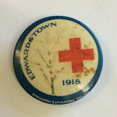 WW1 Australia Appeal Day Button Badge Edwardstown Red Cross 1918