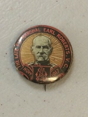 WW1 OAS On Active Service 1917 Button Badge Late Field Marshal Earl Roberts VC