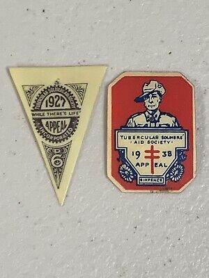 2 Tubercular Soldiers Aid Society TB Appeal Day Badge Pins 1927 1938
