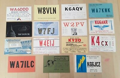 RADIO QSL HAM CARDS Lot x 15 From U.S.A 1970s & 1980s USA