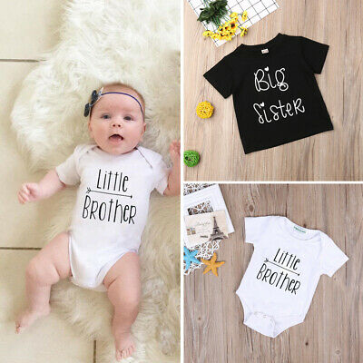 Toddler Kids Baby Little Brother Romper Big Sister T-shirt Short Sleeve Outfits