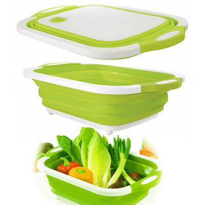 2in1 Plastic Folding Cutting Board Chopping Board Washing Drain Basket Sink