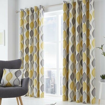 Eyelet Lined Curtains Lennox Grey & Yellow. Sold & Priced per pair