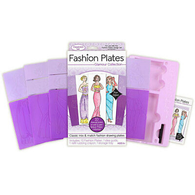 10pc Fashion Plates Kids 6y+ Themed Glamour Collection Extension Drawing Kit/Set