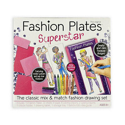 Fashion Plates Design Kids/Children Craft/Art Set Girls 6y+ Drawing/Designer Kit