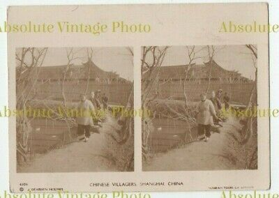 Old Stereoview Photo Card Chinese Villagers Shanghai China Sunbeam Tours 1920S