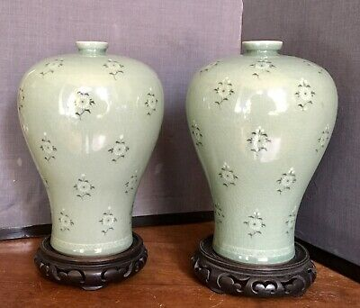 Celadon Baluster Vases Pair. Korean Craquelure Early 20th Century.
