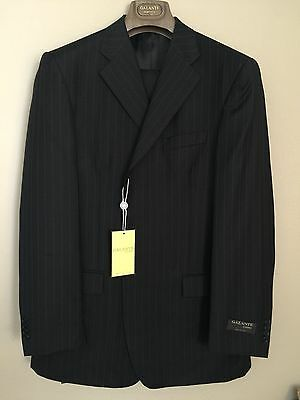 Galante Hand Tailor Suit 100% Wool D Gray Pinstripe 3 Button Jaket 44 Long W 38