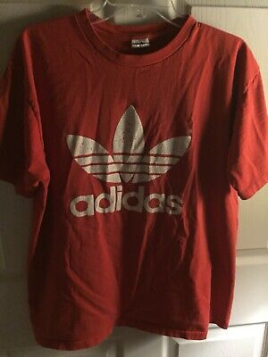 8be9c1dbe Vintage 90s Adidas T Shirt Mens Large HUGE Trefoil Logo Red Double Side  Distress