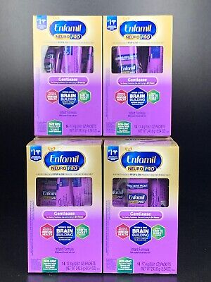 Enfamil NEURO PRO Gentlease Four 14-Packet Cartons Single-Serve Packets Exp 2/20