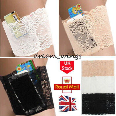 1 Pair No-Chafing Thigh Pocket Bands Women Stylish Non Slip Lace Elastic Socks