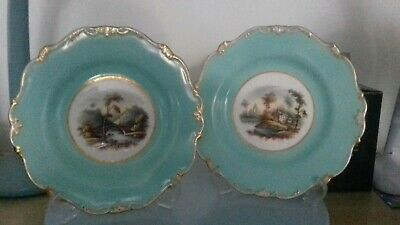Antique BEAUTIFUL PAIR OF MINTON cabinet 9 inches PLATES Great Colour Gilt !!