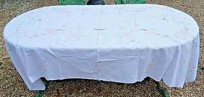 Large Vintage Hand Embroidered  & Drawn Fabric Tablecloth 259cm x 166cm