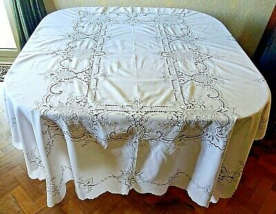 Large Vintage Hand Embroidered  & Drawn Fabric Tablecloth 212cm x 166cm