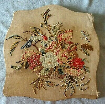 Antique Victorian Art Needlepoint Canvas Tapestry Humming Bird & Butterfly