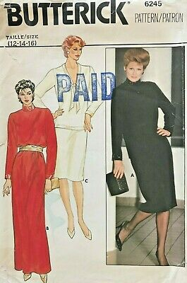 1980's VTG Butterick Misses' Dress,Top,Skirt Pattern 6245 Size 12-16 UNCUT