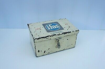 Vintage Industrial ifas Autopak First Aid Tin Box Kit with Digital Thermometers