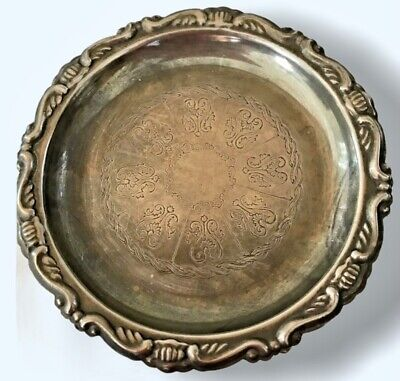Italian Silver Plated EP ON Steel Detailed Design Dish Coaster Made In Italy