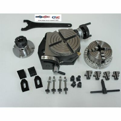 """4"""" Tilting Rotary Table Set With  Fixture Plate , 3"""" 4 Jaw Chuck, Er 25 Holder A"""