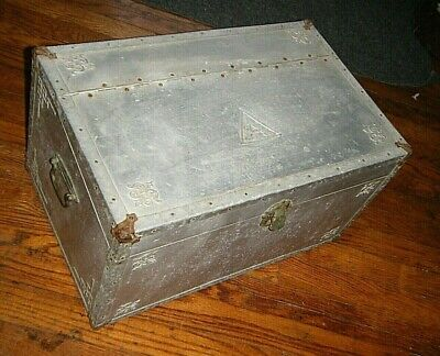 Vtg 1940s Aluminum Covered Aviator Chest Trunk Box with Purifier Humidor