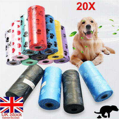 UK 20Roll of 300 Bag Pet Dog Cat Waste Poop Poo Refill Core Pick Up Clean-Up Bag