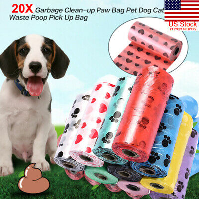 US 20X Dog Cat Poop Bag for Pet Waste Clean Up Refill on a Roll (Variety Color)