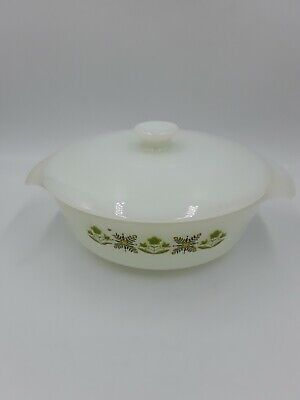 Vintage Fire King Green Meadow 1 Qt Round Casserole 436 With Lid