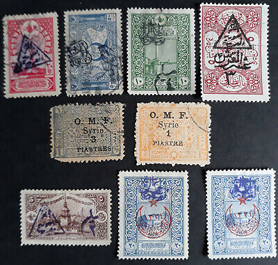 Syria stamps 1918 OTTOMAN Empire, OVPT Rare collection of 9 stamps MH/USED