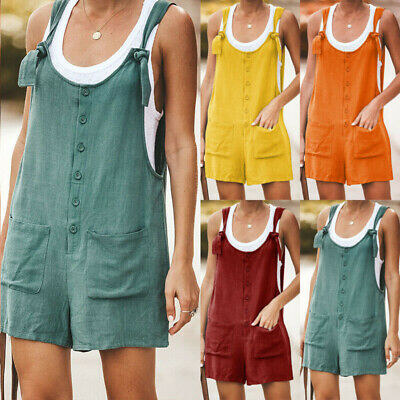 Womens Plain Loose Jumpsuit Summer Causal Beach Button Pockets Overall Playsuit