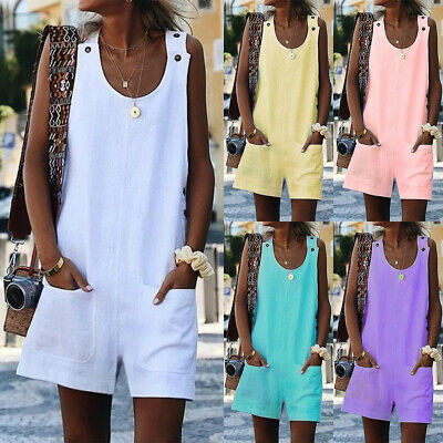 Women's Plain Sleeveless Overalls Jumpsuit Causal Holiday Loose Dungarees Shorts